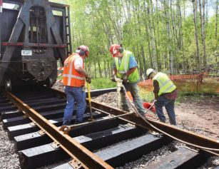 New tracks leading to 36th ave E bridge in Duluth, Minnesota