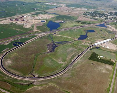 Double track rail loop in Berthold, ND, transshipment facility, rail construction